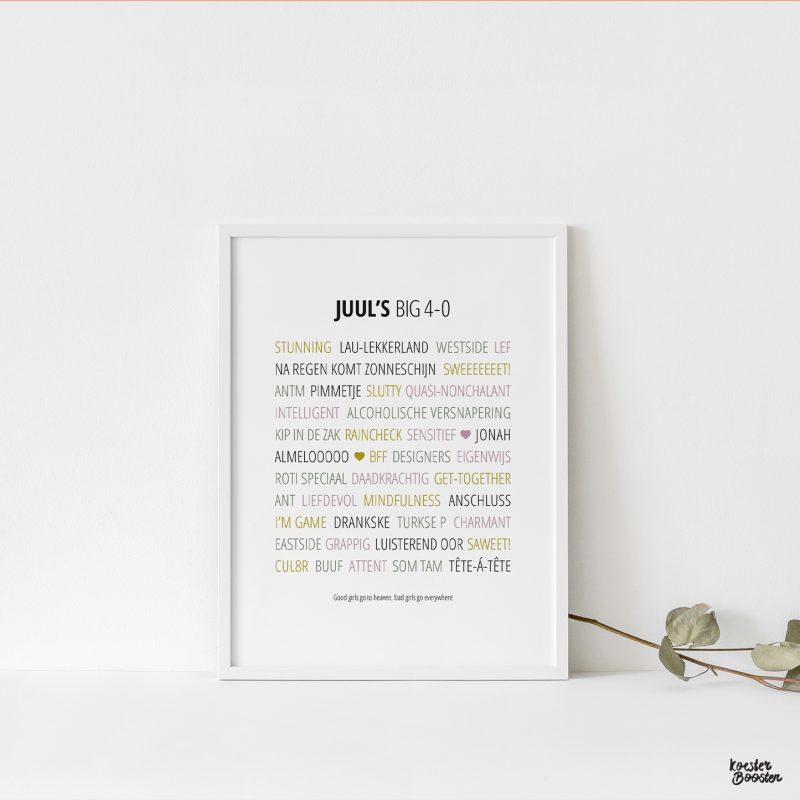 afbeelding van verjaardagsposter met persoonlijke en lieve woorden om te koesteren