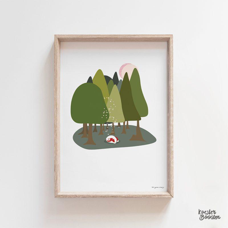 foto van een poster van het Groene Draakje in het bos