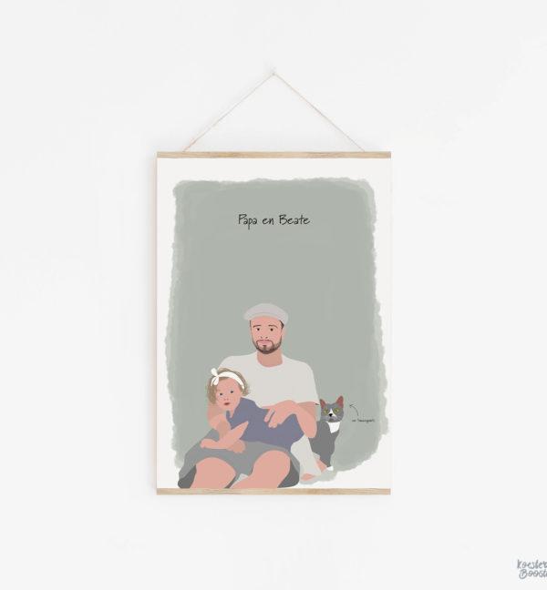 familieportret met kat op poster studio koester booster